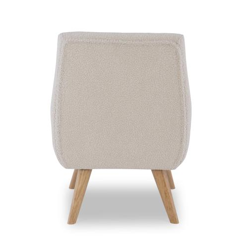 Upholstery and Button Tufting Accent Chair, White and Natural