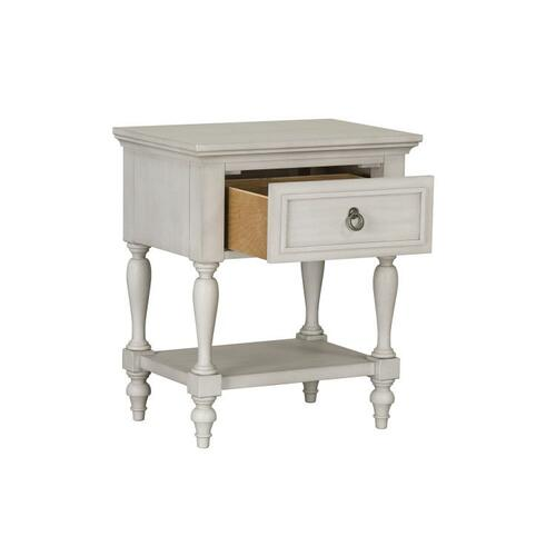 Sarah Youth Single Drawer Open Nightstand with USB Charging Station, White