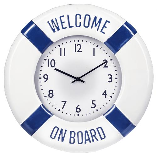 """""""Welcome On Board"""" Enamel Wall Clock"""