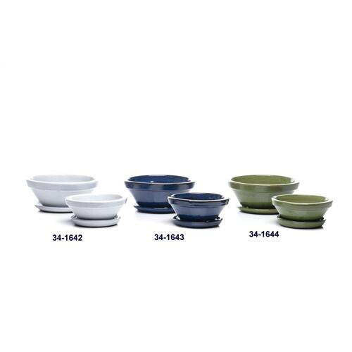 Bean Bowl w/ attached saucer, Green, Set of 2 (Min 4 sets)