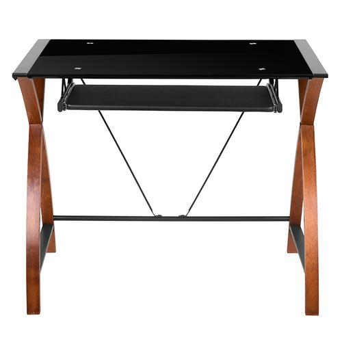 Flash Furniture - Black Glass Computer Desk with Pull-Out Keyboard Tray and Crisscross Frame