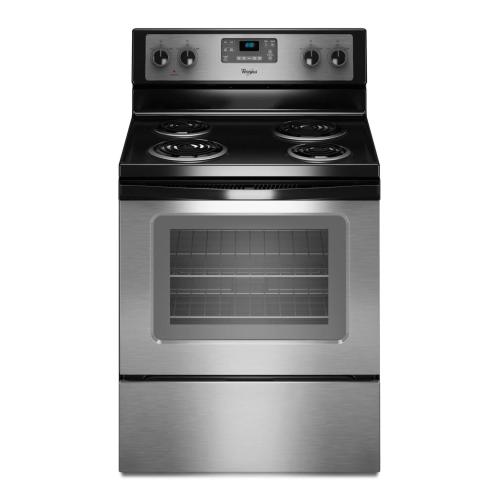 Whirlpool - 4.8 cu. ft. Capacity Electric Range with AccuBake® Temperature Management System (This is a Stock Photo, actual unit (s) appearance may contain cosmetic blemishes. Please call store if you would like actual pictures). REBATE NOT VALID with this item.  ISI 45010