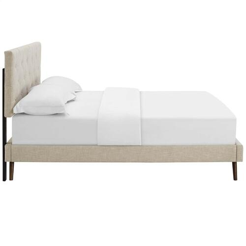 Tarah Queen Fabric Platform Bed with Round Splayed Legs in Beige