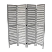 7044 GRAY Rustic Shutter 4-Panel Room Divider