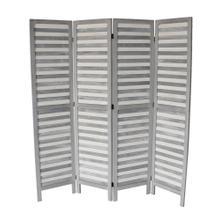 See Details - 7044 GRAY Rustic Shutter 4-Panel Room Divider