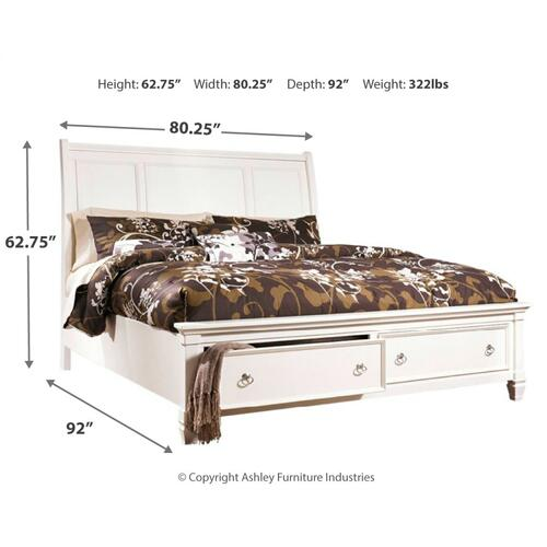 King Sleigh Bed With 2 Storage Drawers With Mirrored Dresser, Chest and Nightstand