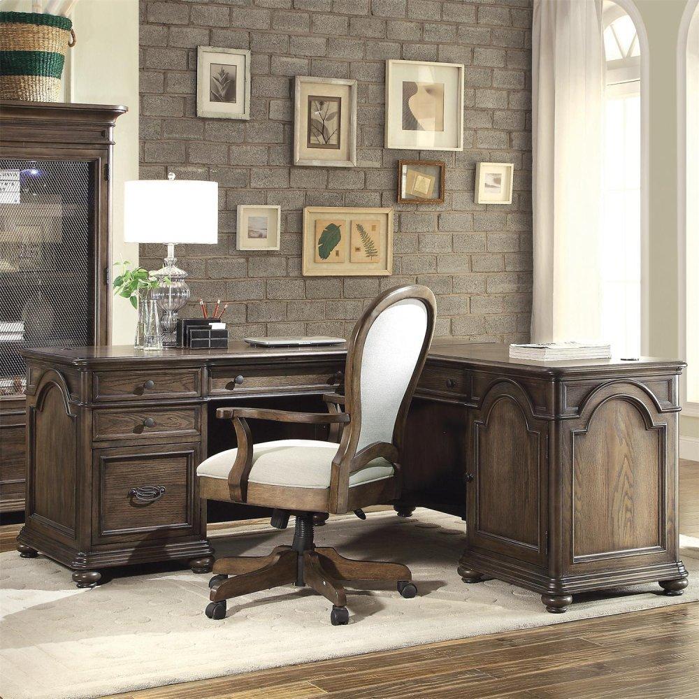 See Details - Belmeade - L Desk & Return - Old World Oak Finish