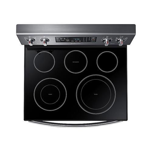 Samsung - 5.9 cu. ft. Freestanding Electric Range with Convection in Black Stainless Steel