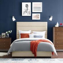 Genevieve Queen Upholstered Fabric Platform Bed in Beige
