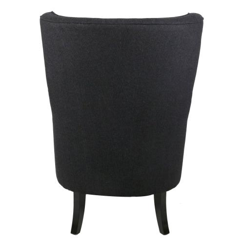 Clementine KD Fabric Wing Accent Arm Chair Black Legs, Onyx