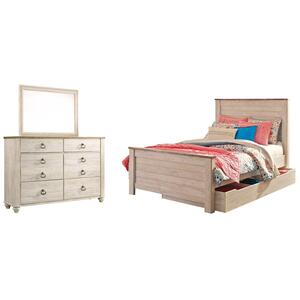 Full Panel Bed With 1 Storage Drawer With Mirrored Dresser
