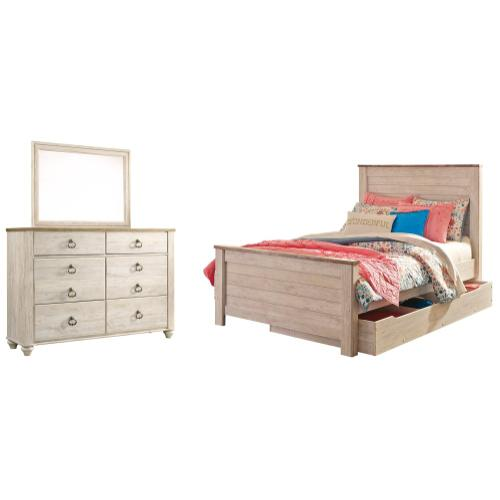 Product Image - Full Panel Bed With 1 Storage Drawer With Mirrored Dresser