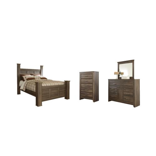 Queen Poster Bed With Mirrored Dresser and Chest