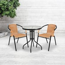 2 Pack Beige Rattan Indoor-Outdoor Restaurant Stack Chair
