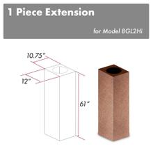 """See Details - ZLINE 61"""" Hand Hammered Copper Finished Chimney Extension for Ceilings up to 12.5 ft. (8GL2iH-E)"""