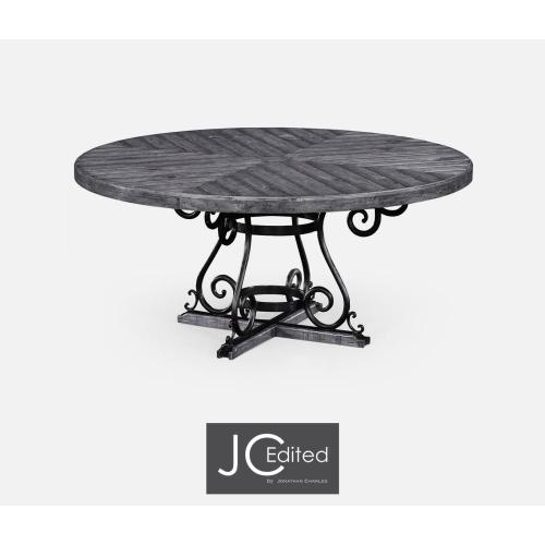 Antique dark grey and wrought iron dining table