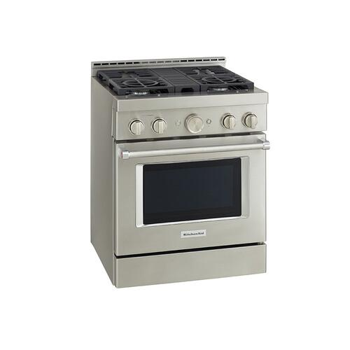 KitchenAid® 30'' Smart Commercial-Style Gas Range with 4 Burners - Stainless Steel