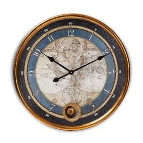Baxton Studio Clotaire Vintage Style Antique Gold Finished Map Wall Clock