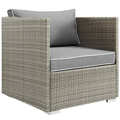 Repose 7 Piece Outdoor Patio Sectional Set in Light Gray Gray