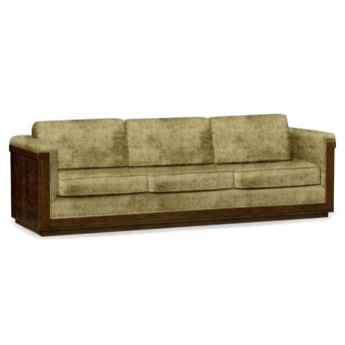 110'' Antique Mahogany Brown High Lustre Sofa, Upholstered in Lime Velvet