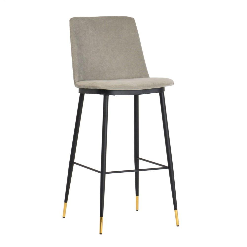 Evora Grey Velvet Counter Stool (Set of 2)