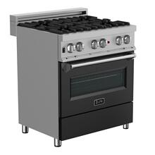ZLINE 30 in. Professional Dual Fuel Range in DuraSnow® Stainless Steel with Black Matte Door (RAS-BLM-30)