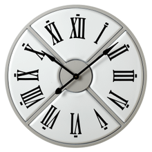 Grey & White Enamel Four Section Wall Clock