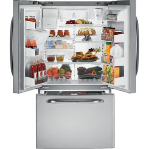 GE® ENERGY STAR® 25.9 Cu. Ft. French Door Refrigerator with Icemaker (This may be a Stock Photo, actual unit (s) appearance may contain cosmetic blemishes. Please call store if you would like additional pictures). This unit carries our 6 Month warranty, MANUFACTURER WARRANTY and REBATE NOT VALID with this item. ISI 37817 B