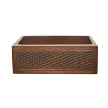 """Copperhaus rectangular undermount sink with a basket weave design front apron and a 3 1/2"""" center drain - 14 gauge copper sink"""
