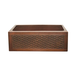 """Copperhaus rectangular undermount sink with a basket weave design front apron and a 3 1/2"""" center drain - 14 gauge copper sink Product Image"""
