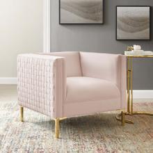 Resonate Performance Velvet Armchair in Pink