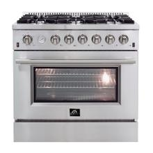 "36"" Gas Range FORNO ALTA QUALITA Pro-Style Gas 6 Defendi Italian Burners 83,000 BTU All 304 Stainless Steel FFSGS6291-36"