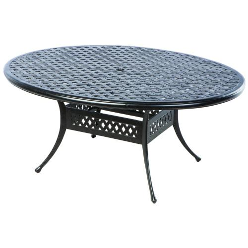 """Weave 70"""" x 50"""" Oval Egg Dining Tbl w/ Umb hole"""