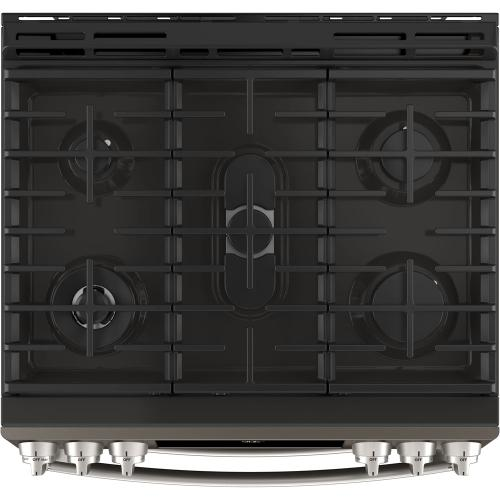 """GE Profile 30"""" Gas Slide-In Front Control Double Oven Range Slate PCGS960EELES"""
