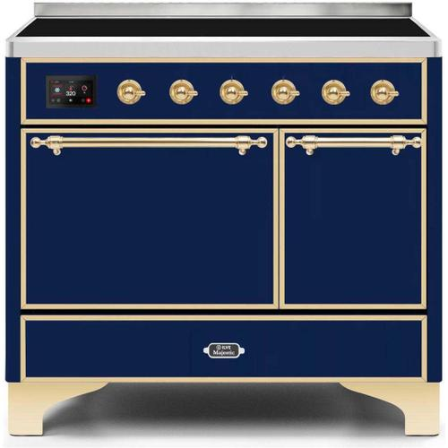 Ilve - Majestic II 40 Inch Electric Freestanding Range in Blue with Brass Trim