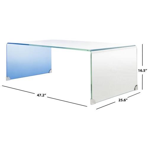 Safavieh - Crysta Ombre Glass Coffee Table - Clear / Blue