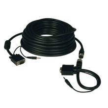 High Resolution SVGA/VGA Monitor Easy Pull Cable with Audio and RGB Coaxial (HD15 M/M), 100 ft.