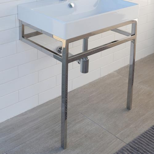 Floor-standing metal console stand with a towel bar (Bathroom Sink 5232 sold separately), made of stainless steel or brass. It must be attached to wall.