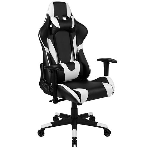 Gallery - X20 Gaming Chair Racing Office Ergonomic Computer PC Adjustable Swivel Chair with Fully Reclining Back in Black LeatherSoft