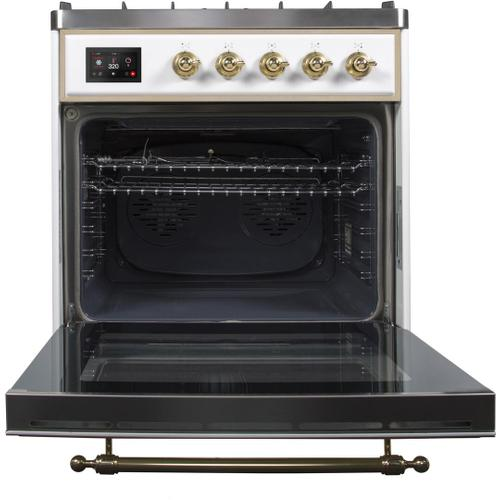 Ilve - Majestic II 30 Inch Dual Fuel Natural Gas Freestanding Range in White with Brass Trim
