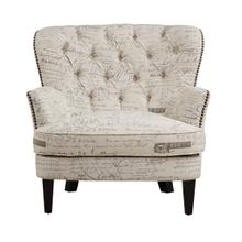 View Product - Traditional Button Tufted Upholstered Arm Chair in Paris Script