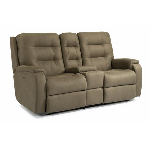 Flexsteel - Arlo Power Reclining Loveseat with Console and Power Headrests and Lumbar