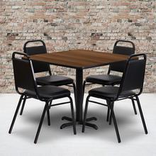 Product Image - 36'' Square Walnut Laminate Table Set with X-Base and 4 Black Trapezoidal Back Banquet Chairs