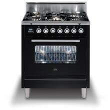 "30"" Professional Plus Series Freestanding Single Oven Gas Range with 5 Sealed Burners in Glossy Black"