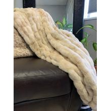 """Luxurious Hand Crafted Faux Fur Nuevo Two-tone Throw by Rug Factory Plus - 50"""" x 60"""" / Two-tone Beige"""
