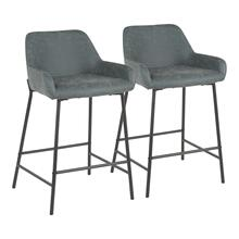 Daniella Counter Stool - Set Of 2 - Black Metal, Green Pu