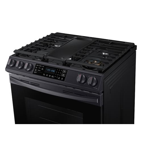 6.0 cu. ft. Front Control Slide-in Gas Range with Air Fry & Wi-Fi in Black Stainless Steel
