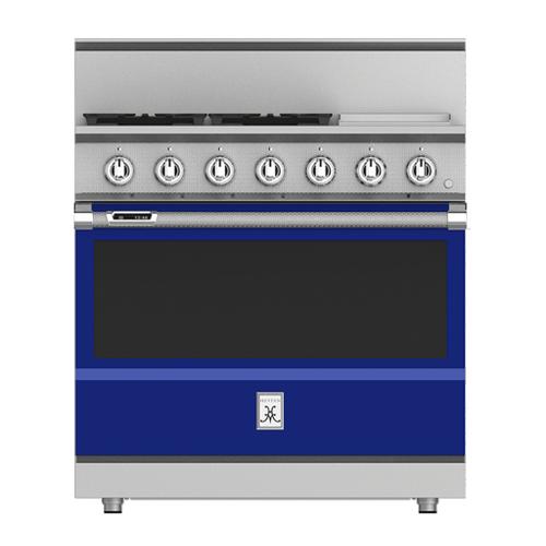 """Hestan - 36"""" 4-Burner Dual Fuel Range with 12"""" Griddle - KRD Series - Prince"""