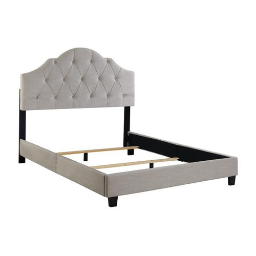 Tufted Upholstered Queen Bed in Soft Beige