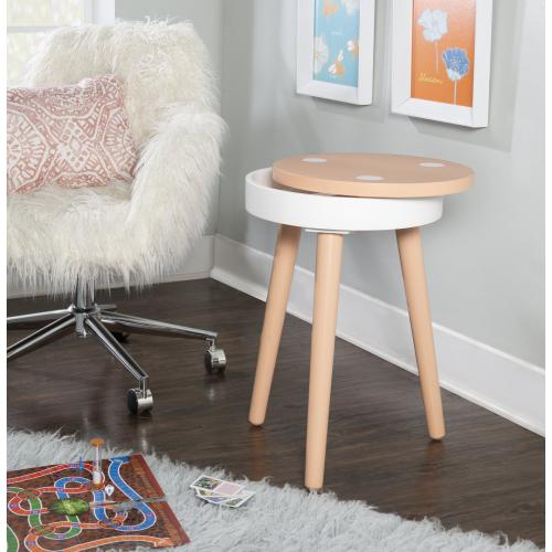 Removable Table Top Lid Side Table, Orange and White